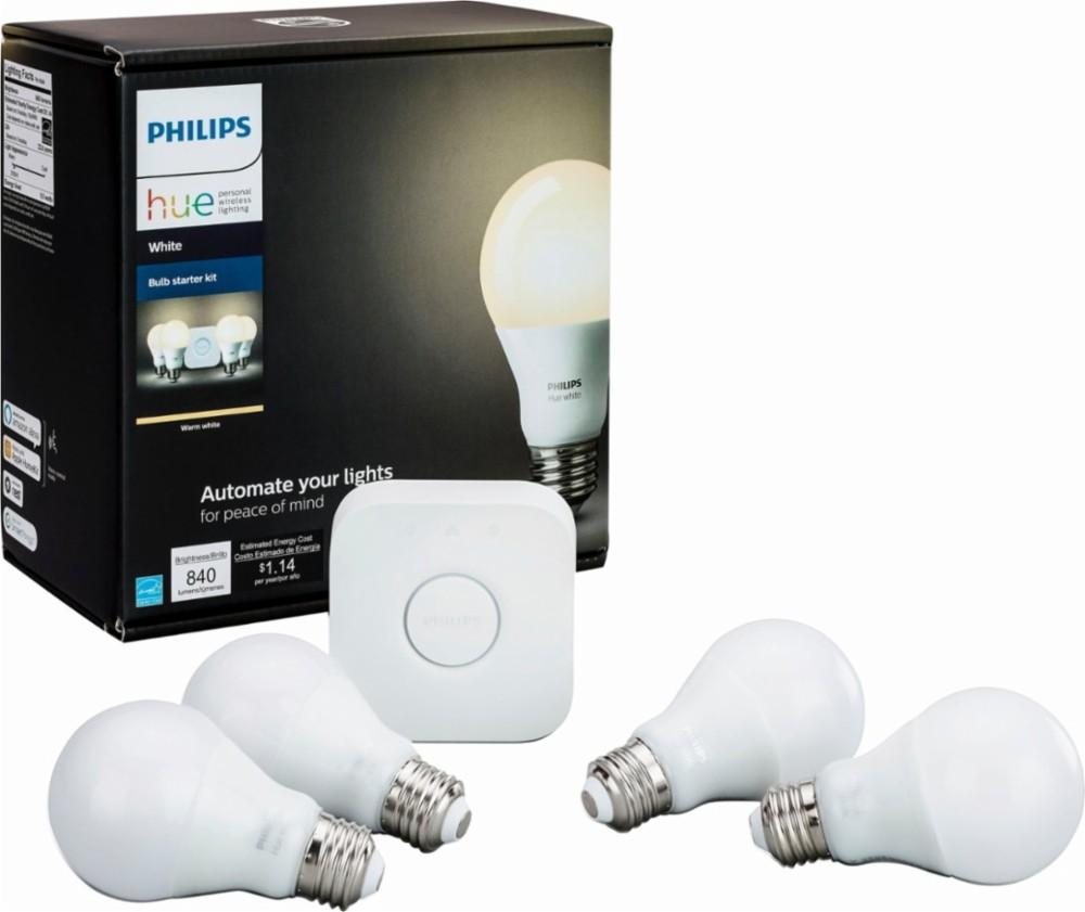 philips hue white a19 starter kit hue bridge w 4 hue led bulbs. Black Bedroom Furniture Sets. Home Design Ideas