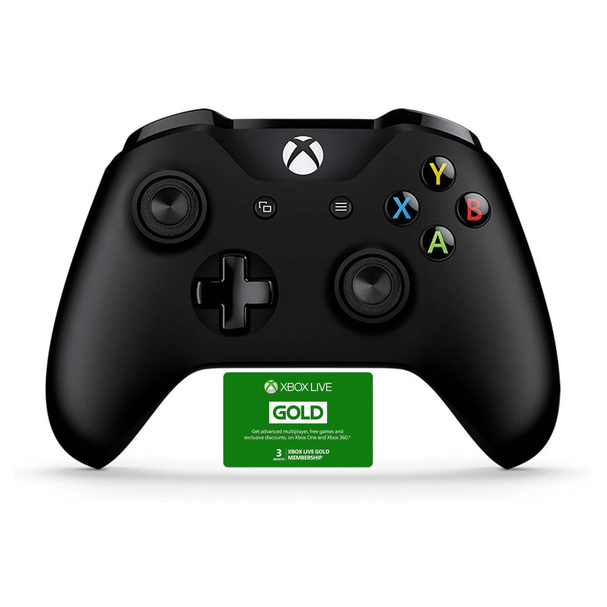 Microsoft Xbox One Wireless Controller (Black or White) + 3-Months Xbox Live Gold Membership (Email Delivery) $43.99 + Free Shipping
