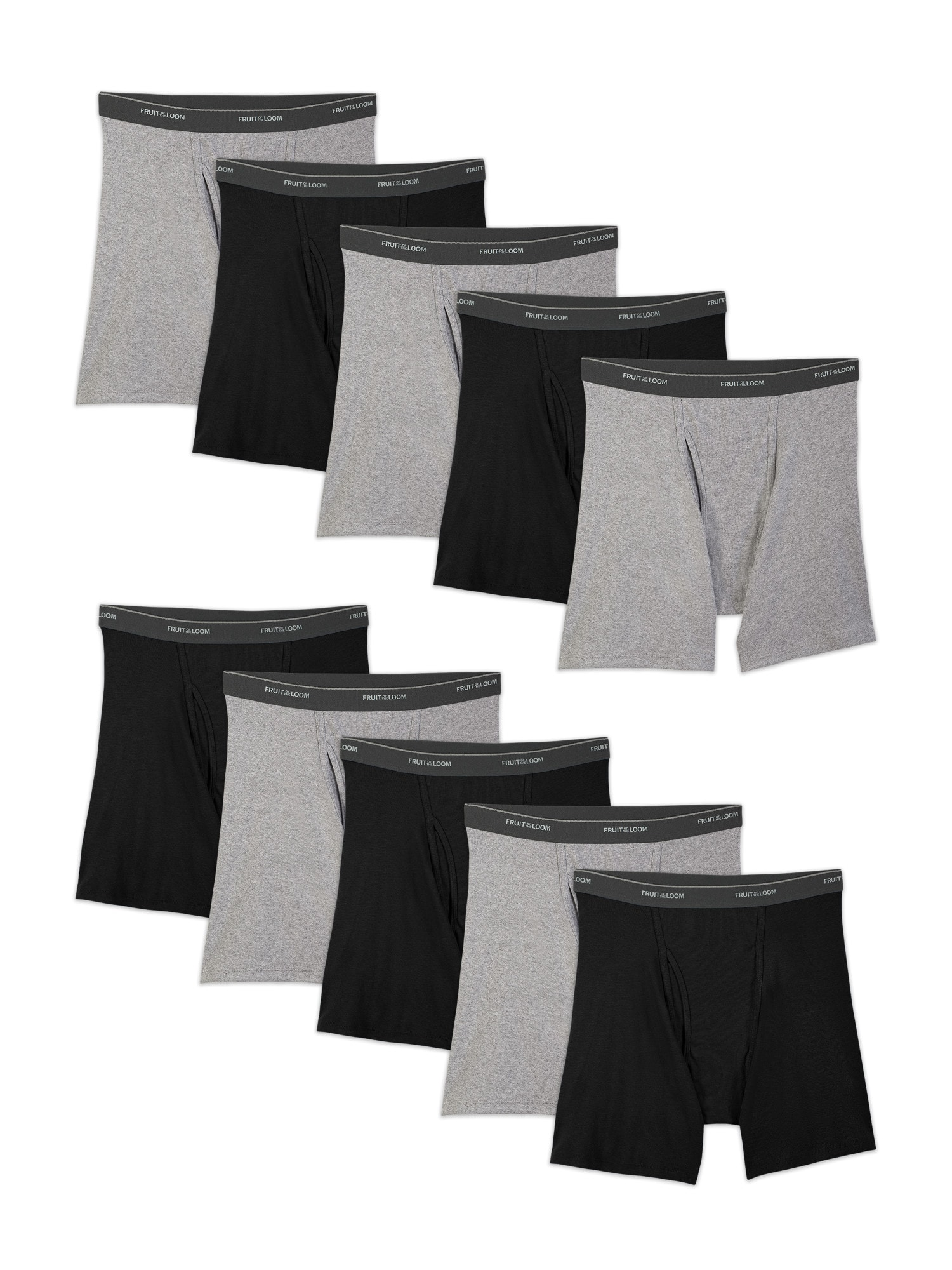 eefd4079 10-Pack Fruit of the Loom Men's Boxer Briefs (Black/Gray ...