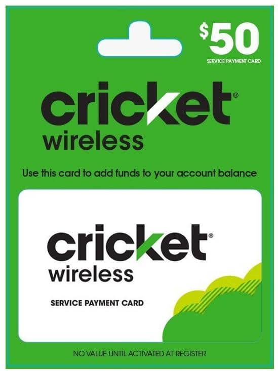50 Cricket Wireless Service Payment Card Email Delivery