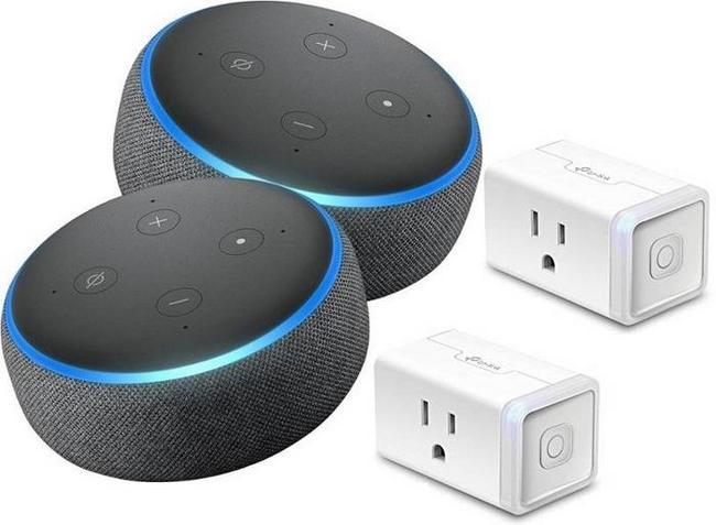 2-Pk Amazon Echo Dot (3rd Gen) + 2-Pk TP-Link HS105 Wi-Fi