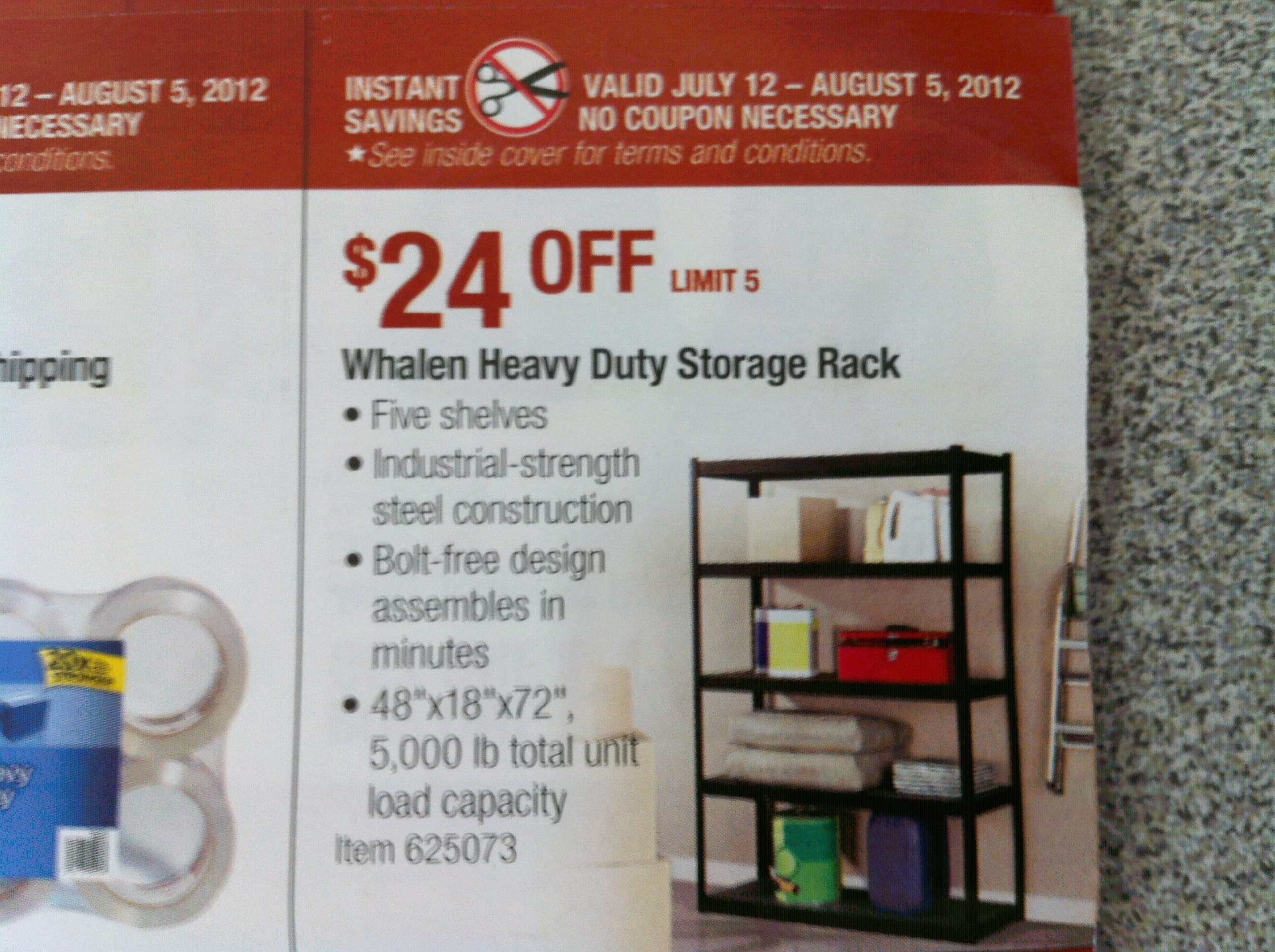 Whalen Heavy Duty Storage Rack at Costco (B&M only) $40 July 12 - August 5