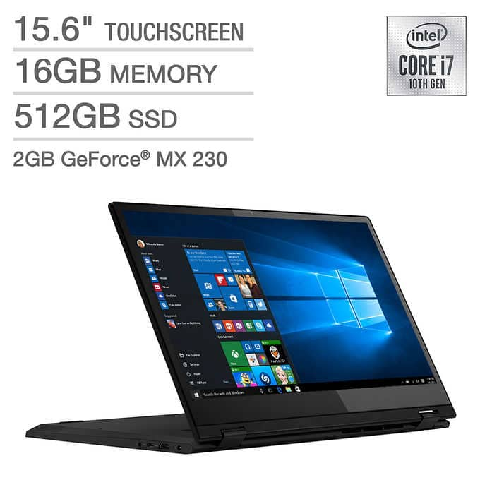 Lenovo Flex 15 Series 2-in-1 Touchscreen Laptop - 10th Gen Intel Core i7 - GeForce MX230 - 1080p $780 at Costco
