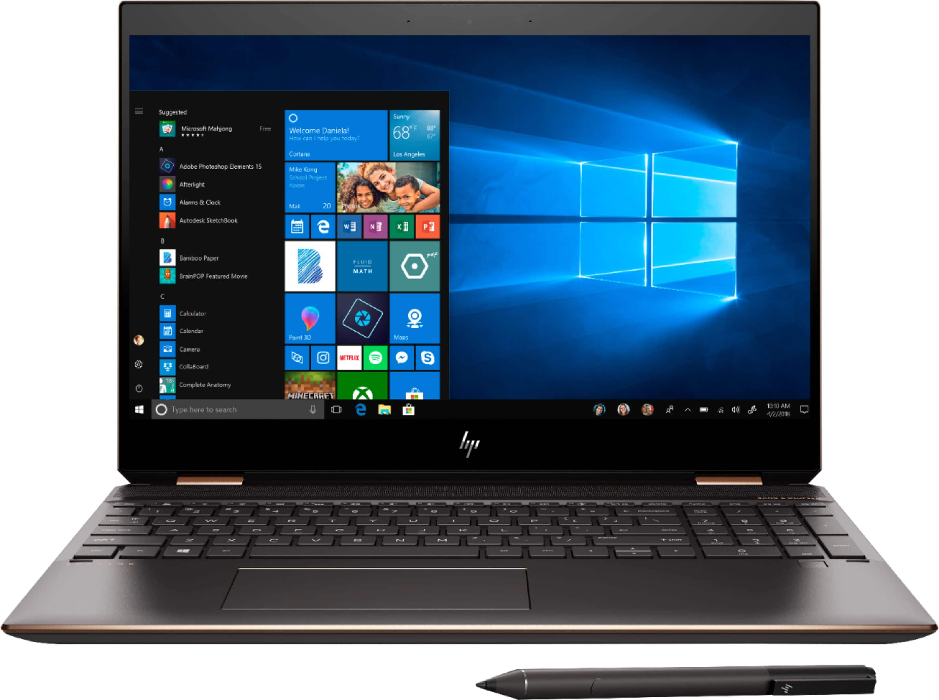 "HP - Spectre x360 2-in-1 15.6"" 4K Ultra HD Touch-Screen Laptop - Intel Core i7 - 16GB Memory - 512GB SSD + 32GB Optane - Dark Ash Silver, Sandblasted Anodized Finish $1099.99"