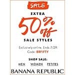 Extra 50% off on sale items at Banana Republic