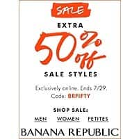 Banana Republic Deal: Extra 50% off on sale items at Banana Republic