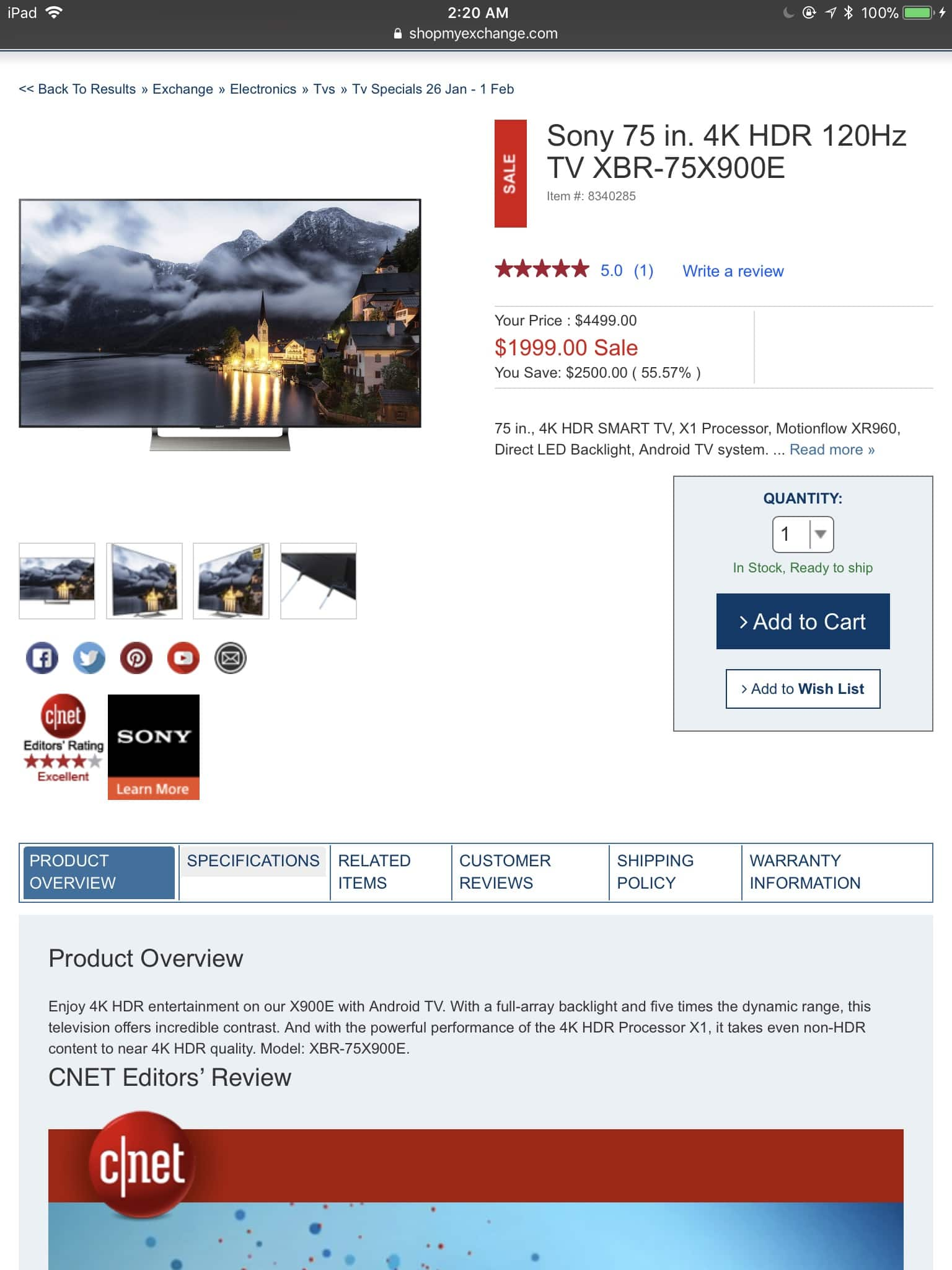 AAFES (Military and Veterans Only) Sony 75 in. 4K TV  XBR-75X900E $1999 free shipping no tax