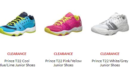 Prince T22 Jr. Tennis Shoes + Prince Stage 3 Red Foam Ball 3 Pack for $23.75 (and up) +Shipping @ Tennis Warehouse
