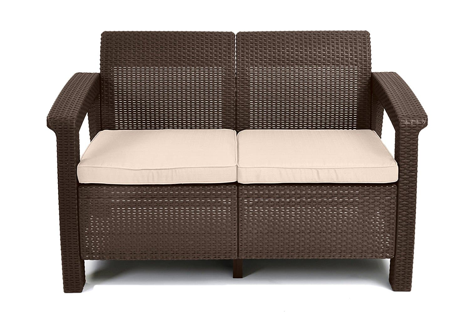 Stunning Keter Corfu Patio Outdoor Loveseat with Cushion on Amazon Free Prime Ship