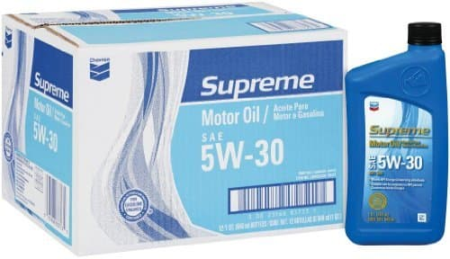 Chevron 83723-CASE SAE 5W-30 Supreme Motor Oil - 1 Quart Bottle, (Pack of 12) 19.76-$5 rebate - free shipping with prime or $49