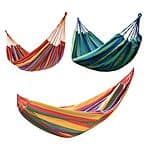 Canvas Striped Outdoor Hammock with Carrying Bag - Assorted Colors $22.00 + ship @choxi.com