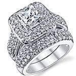 .925 Sterling Silver Princess Cut Cubic Zirconia Wedding Ring Set $49.99 + fs @amazon.com