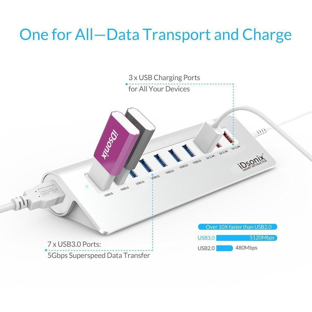 iDsonix 10 Port USB 3.0 Hub Aluminum Desktop Hub, 7 Port USB 3.0 Hub + 3 Port Powered Multi Charging $27.99