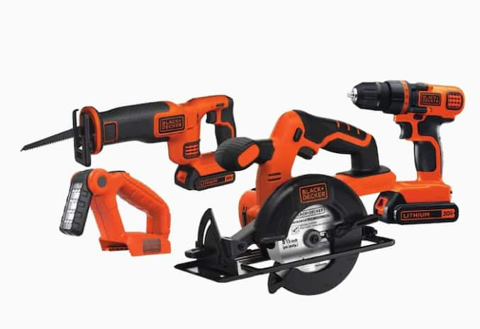 BLACK+DECKER 4-Tool 20-Volt Power Tool Combo Kit (Charger Included and 2-Batteries Included) $129.99