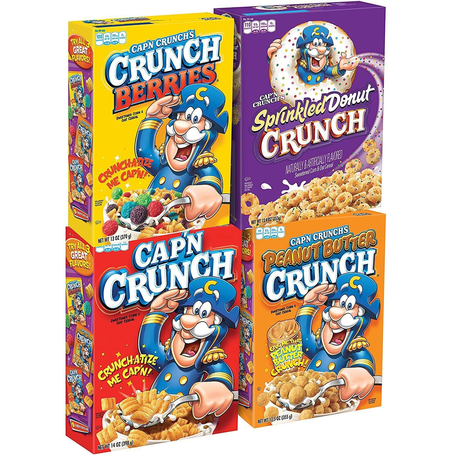 Cap'N Crunch Breakfast Cereal, Variety Pack, 14 oz (4 count) - $6.72 or less AC + S&S
