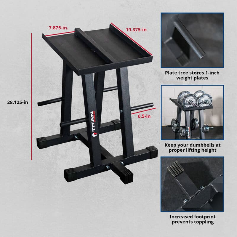 Titan Dumbbell stand and plate tree power block – v3 $109.99