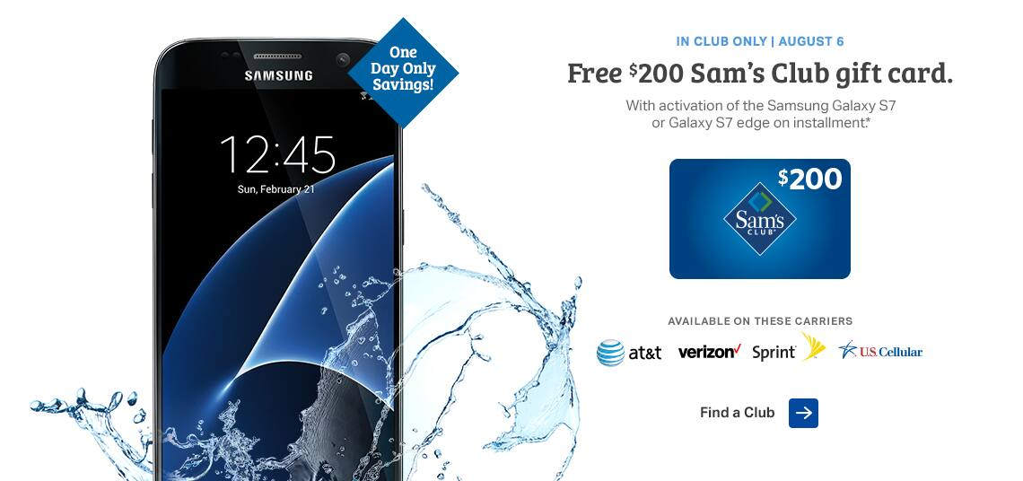 galaxy s7 edge sams club get a 200 sams club gift card