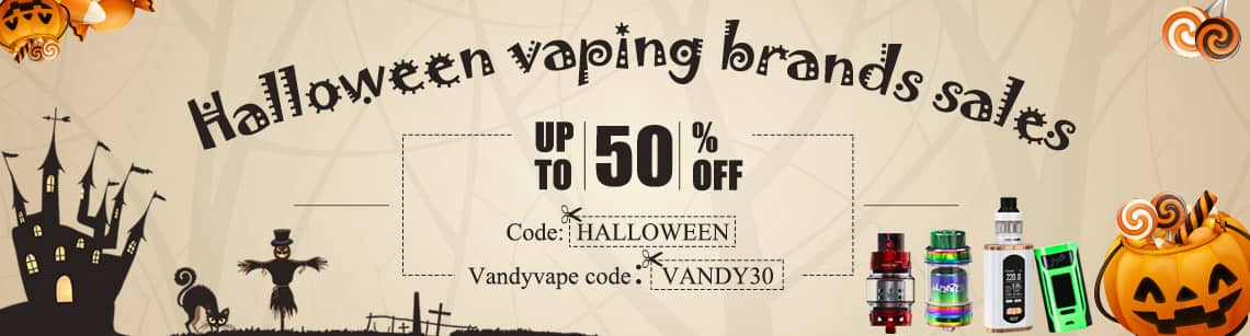 Halloween brands sale for e-cigar vaping, up to 50%, free shipping AC @ SourceMore