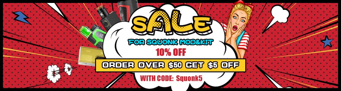 Flash Sales for Squonk mod&kit for e-cigar vaping free shipping from $5.90 and $5 coupon code @ SourceMore