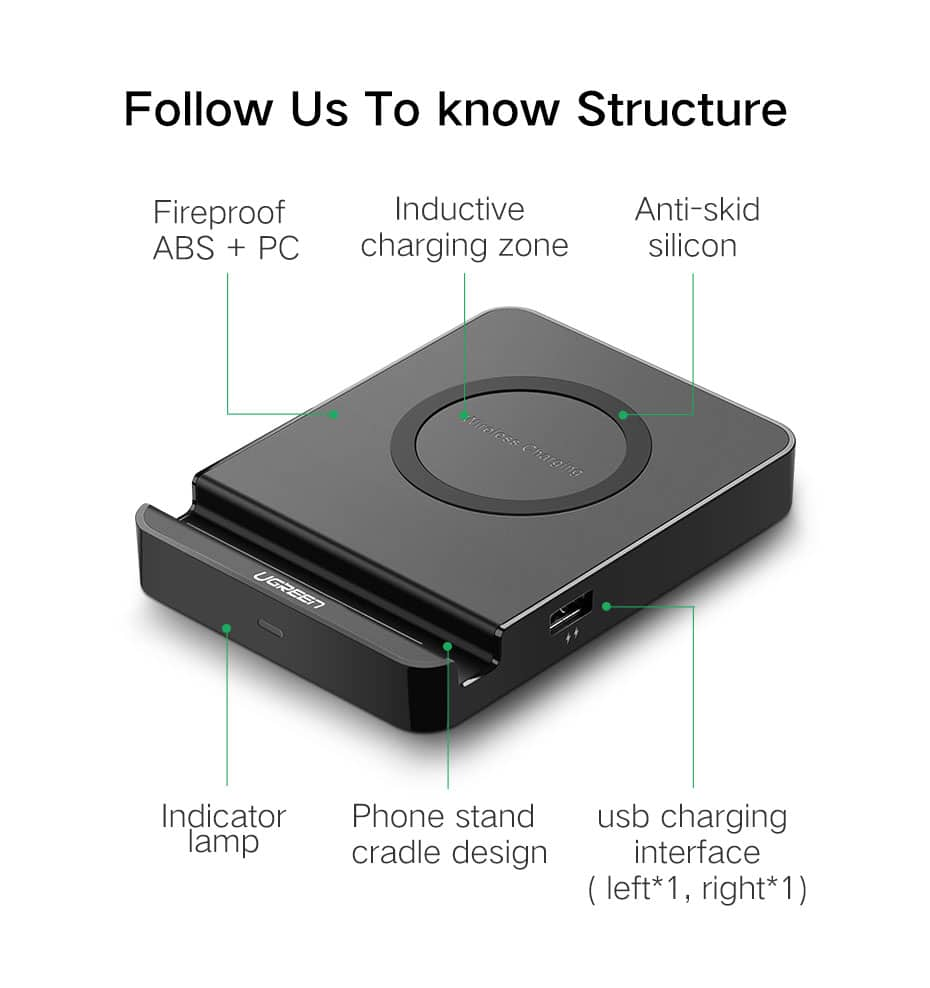 Ugreen Qi Wireless smart phone Charger Pad  $18.70 AC @ GearVita