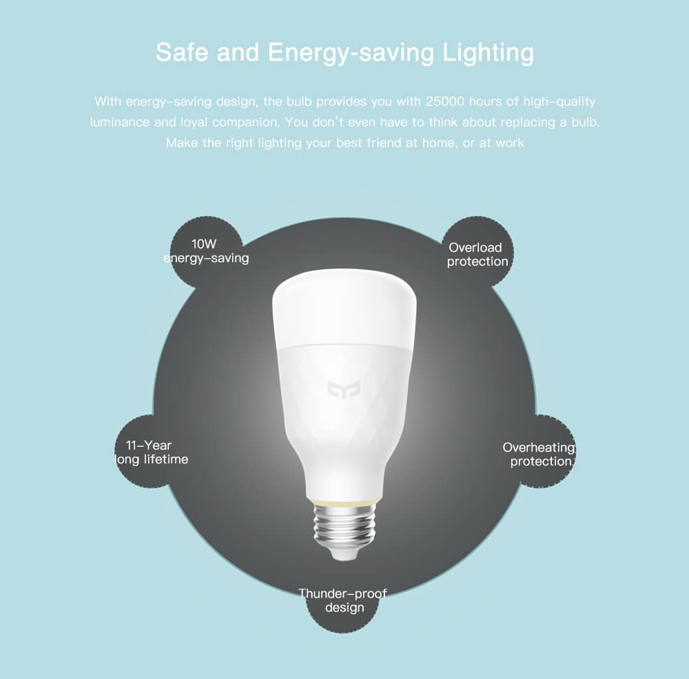 Xiaomi Yeelight YLDP05YL E27 Smart LED Bulb $13.99 AC @ GearVita