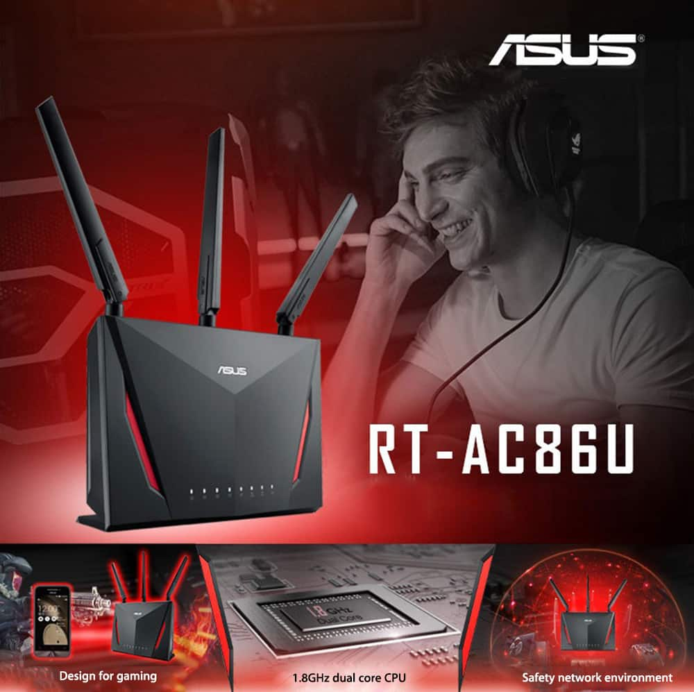 ASUS RT-AC86U AC2900 Wireless  Wi-Fi Dual-band Gigabit Router - $173.99 w/ FS AC @ GearVita