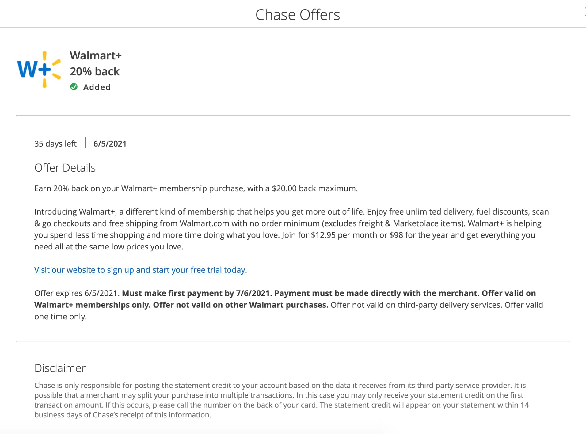 Walmart + Subscription 20% Cash Back Via Chase Card Promo Up To $20 Cash Back, Perfect For A 1 Year Membership