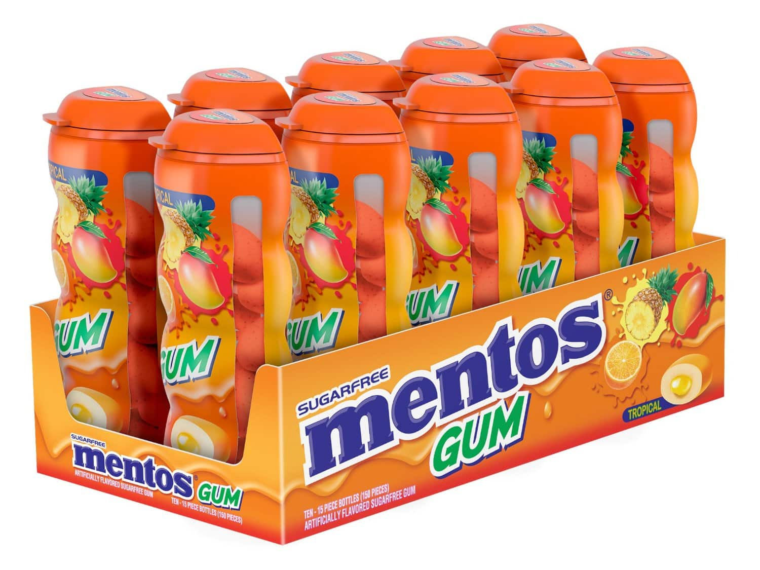 Mentos Gum Pocket Bottle, Tropical, 1.06 Ounce (Pack of 10)  $7.68 - $6.53 Shipped Prime Amazon