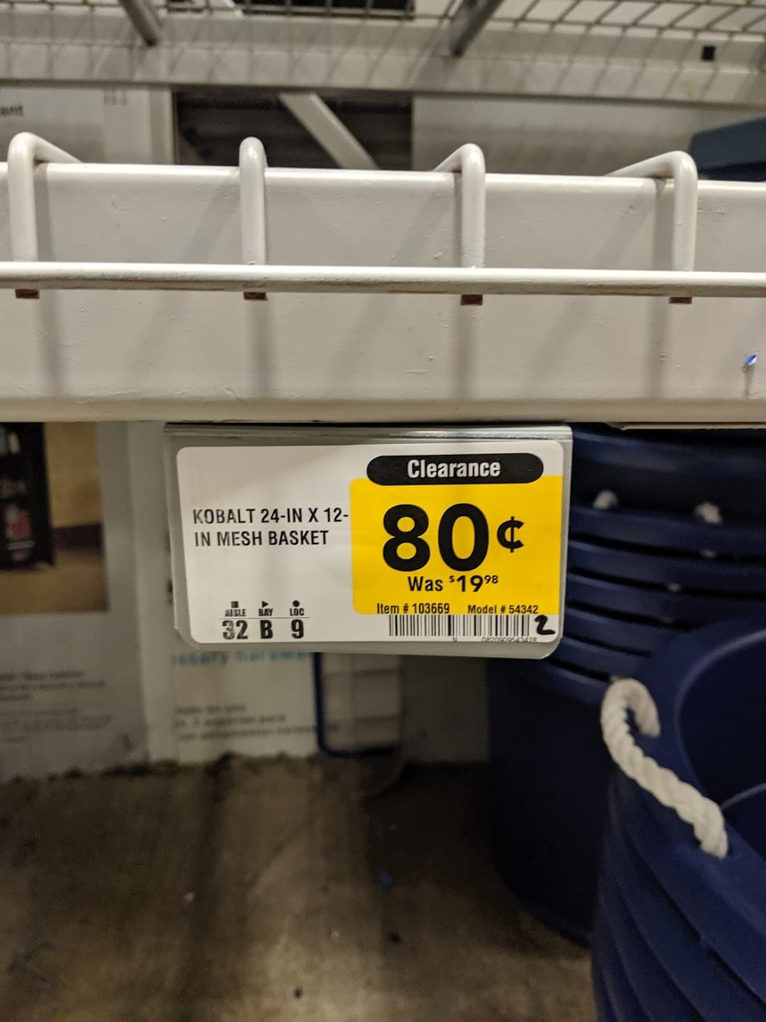 YMMV Lowes Kobalt 1 Piece Mesh Basket 24X12 WAS $19.98 NOW $0.80 IN STORE ONLY