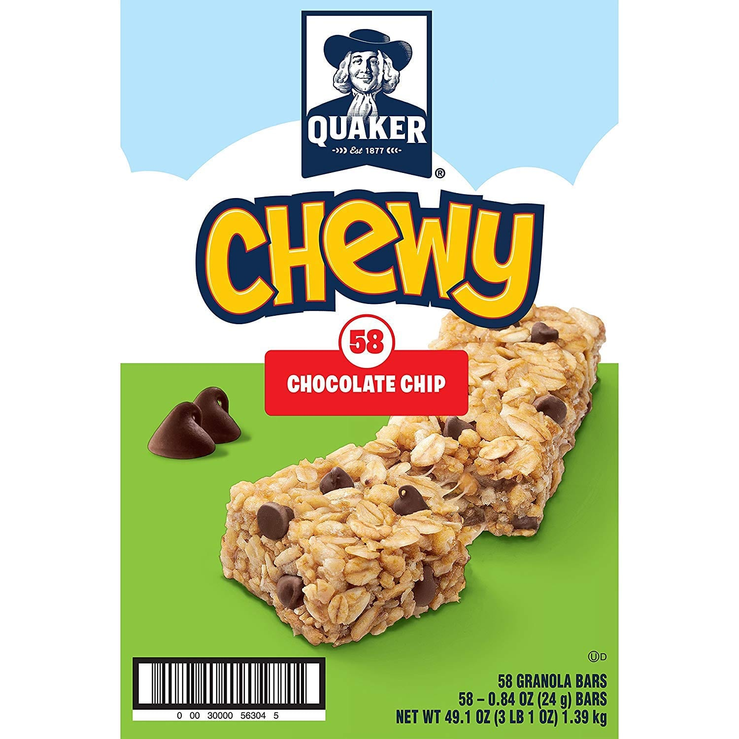 Quaker Chewy Granola Bars, Chocolate Chip, 58 Bars Amazon Prime $7.47 or less with S&S  Lowest ever according to CCC
