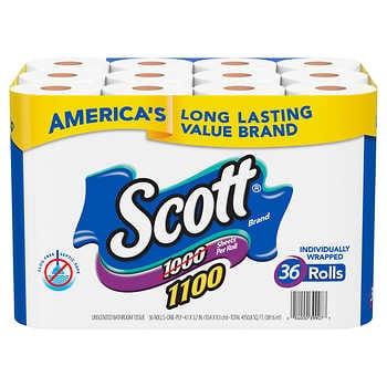 Scott Bath Tissue 1100 Sheets per Roll, 36-count - IN STOCK - Costco.com  $26.99