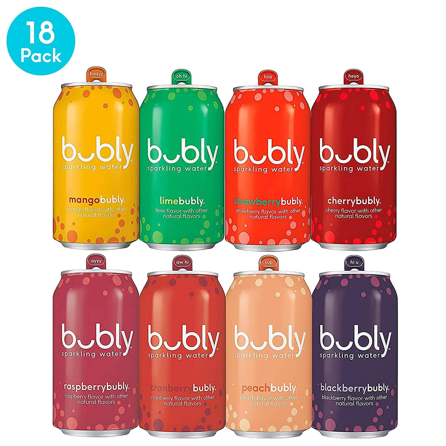 bubly Sparkling Water, 8 Flavor Berry Bliss OR Berry Peachy Variety Pack, 12 fl oz. cans (18 Pack) $5.91 Prime  IN STOCK