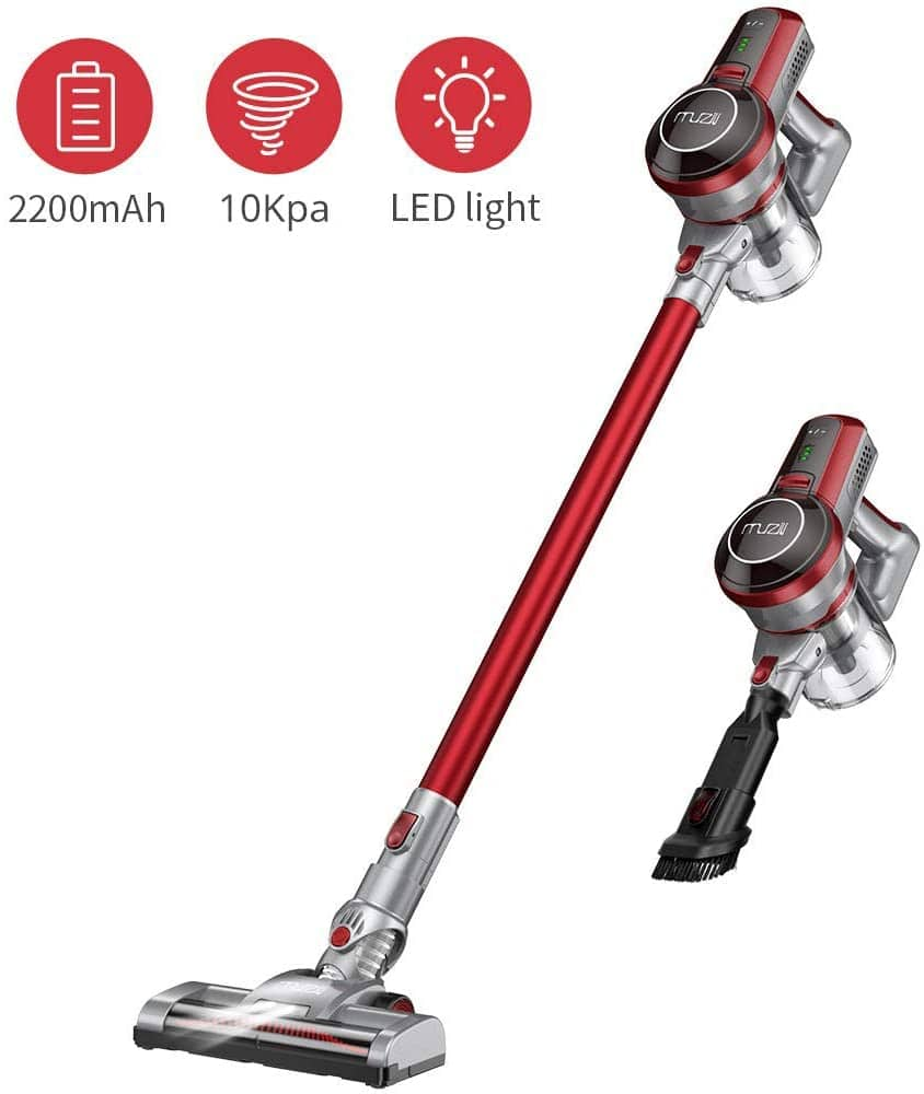 Muzili Cordless Stick Vacuum Cleaner, Hardwood, Carpet Vacuum, Pet Hair with Rechargeable Battery, LED Motorized Brush, Lightweight Wireless, Amazon Prime 42% Off  $69.59 And more