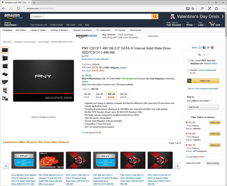 "PNY CS1311 480GB 2.5"" SATA III Internal SSD $120 Shipped, 240GB $60 Shipped, 120GB $40 Shipped @ Amazon"