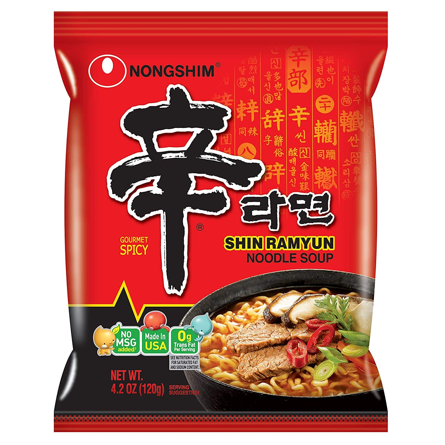 NongShim Shin Ramyun Noodle Soup, Gourmet Spicy, 4.2 Ounce (Pack of 20) Amazon s&s $16.47