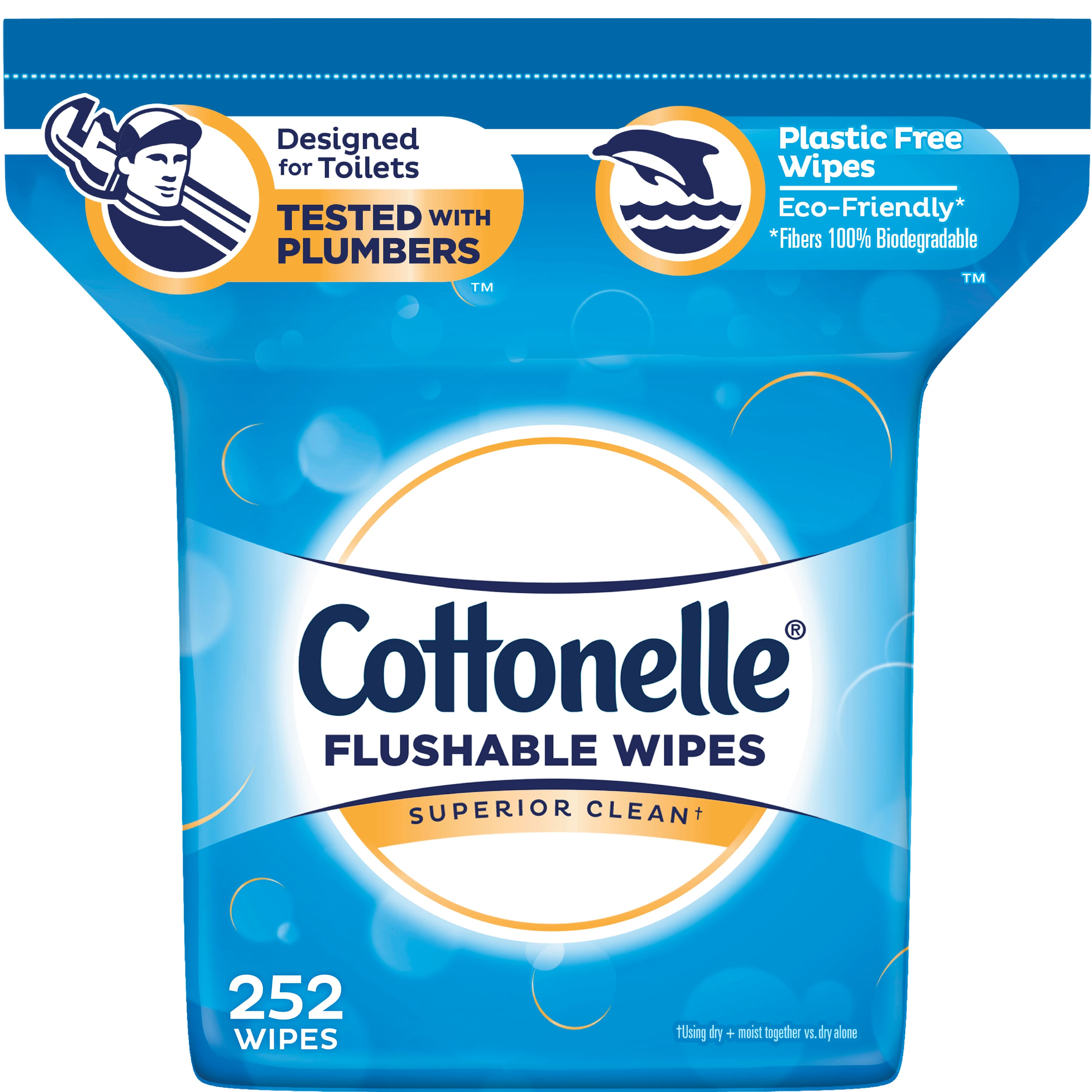Wet Wipes Alcohol Free 336 Ct Cottonelle FreshCare Flushable Wipes for Adults
