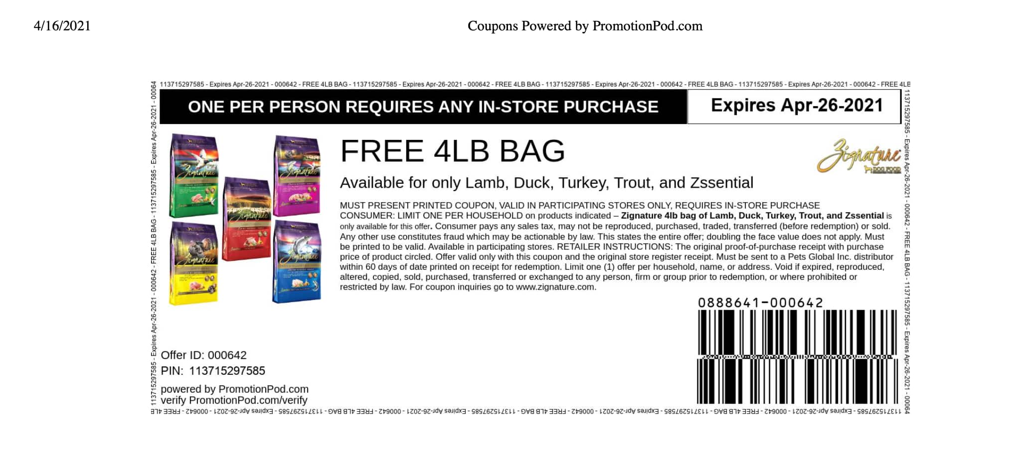 FREE w/ purchase Zignature 4lb Dog Food (various flavors)