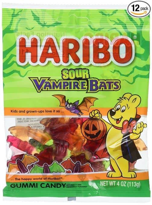 Haribo of America Sour Vampire Bats Gummi Candy, 4 Ounce (Pack of 12) - (Amazon Alexa Deal) + 15% Coupon $6