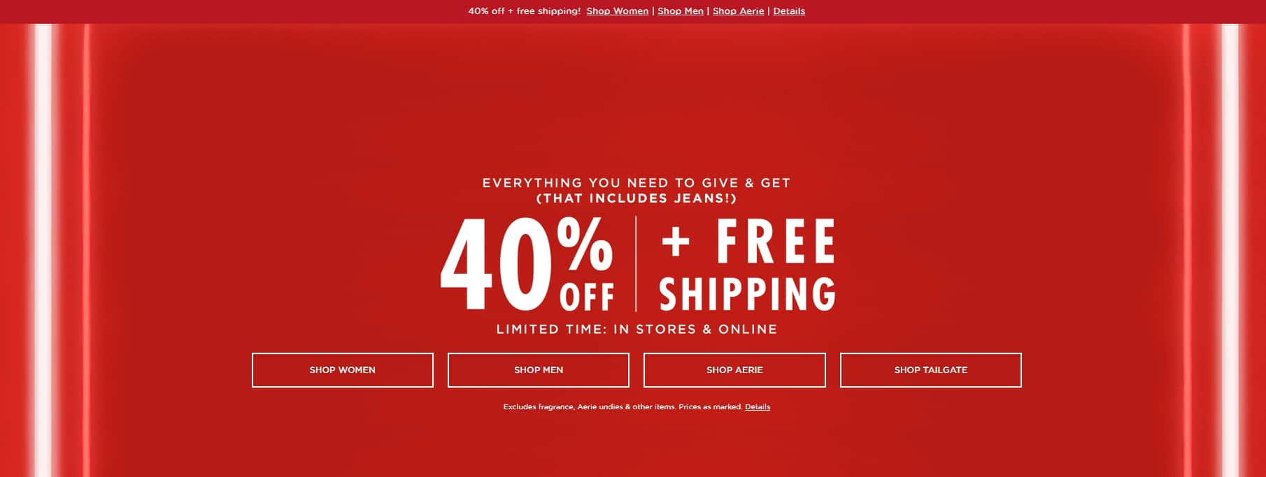 40% OFF at American Eagle (includes jeans) prices from $9.57 + FS