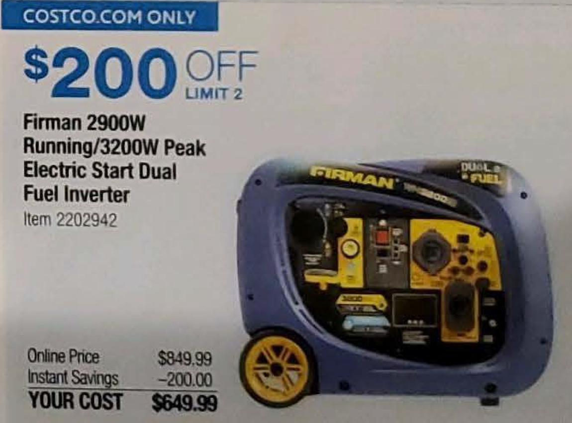 Costco Members: Firman 3200W Gas/Propane Powered Inverter Generator $650 + Free Shipping, November 20-30