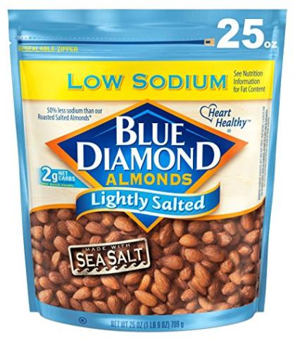 Blue Diamond Almonds, Low Sodium Lightly Salted, 25 Ounce - Add on item -$9.36
