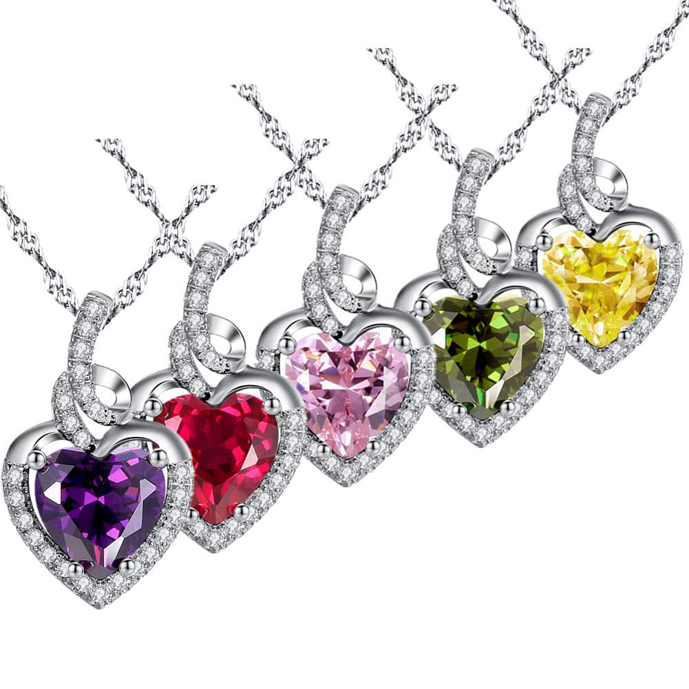 Mabella Sterling Silver Simulated Birthstone Heart Necklace Pendant 45% OFF @$19.24+FS @Amazon