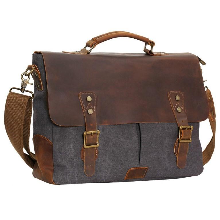 Berchirly Canvas Real Leather Men Messenger Bag Handbag 40% OFF @$29.99+ FS @Amazon