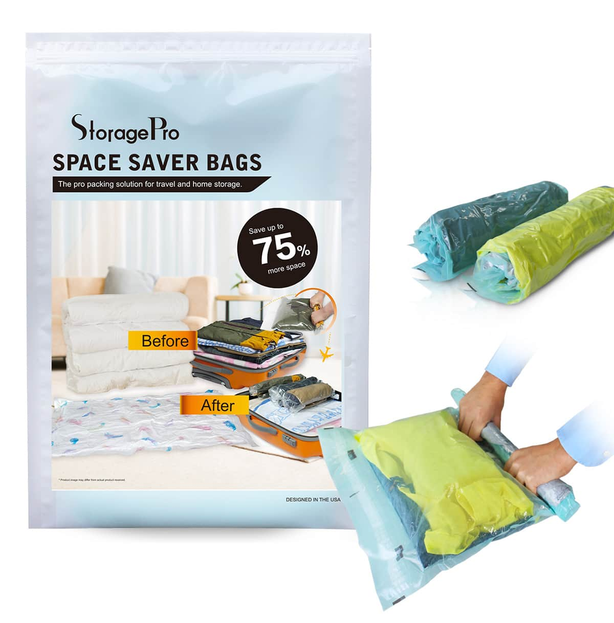 Pack of 9 Travel Space Saver Bags by StoragePro, Hand Rolling (No Vacuum Needed) Compression Bags 30% OFF @$11.76+FS @Amazon