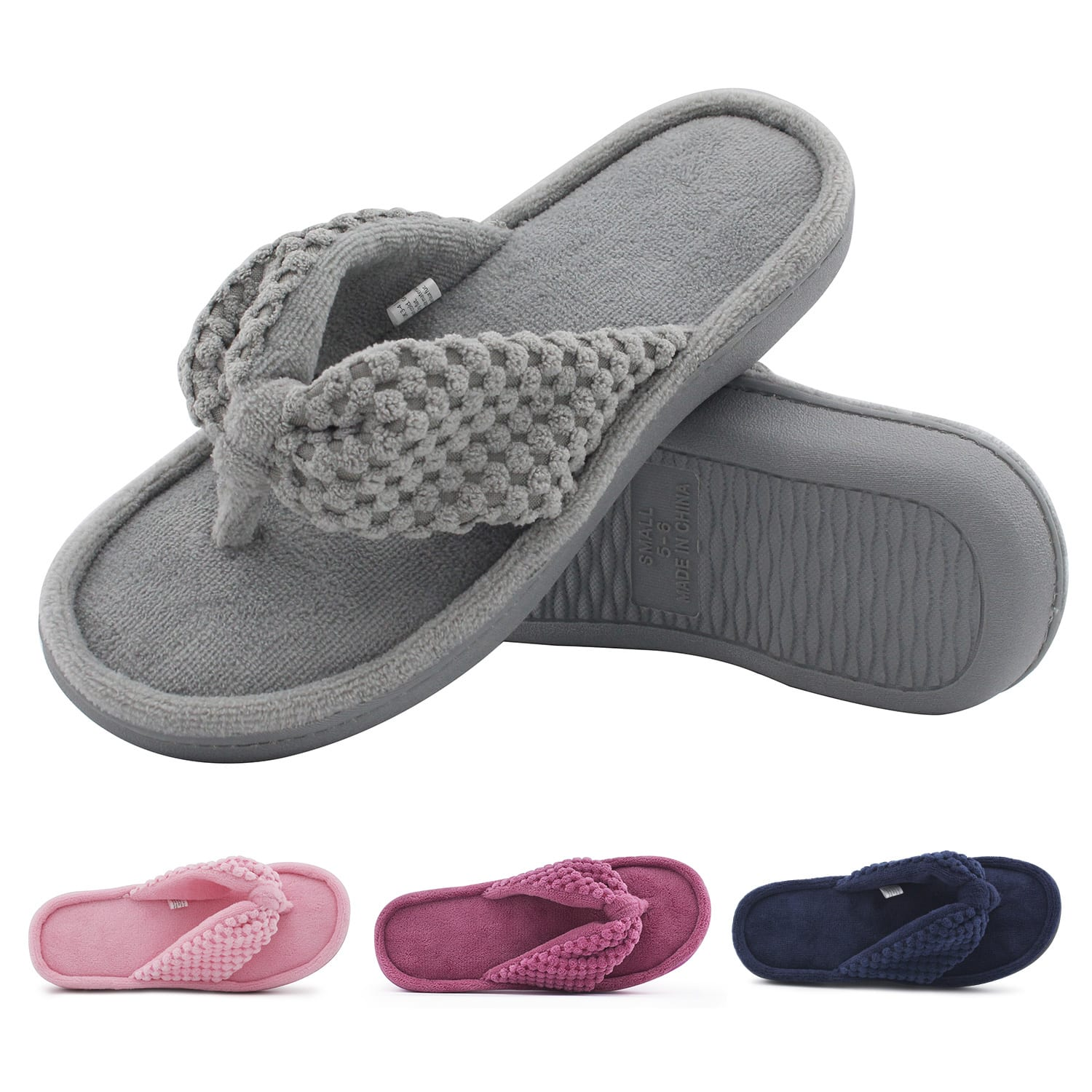 Women's Cozy Memory Foam Plush Gridding Velvet Lining Spa Thong Flip Flops Clog Style House Indoor Slippers 30% OFF @$13.29+FS