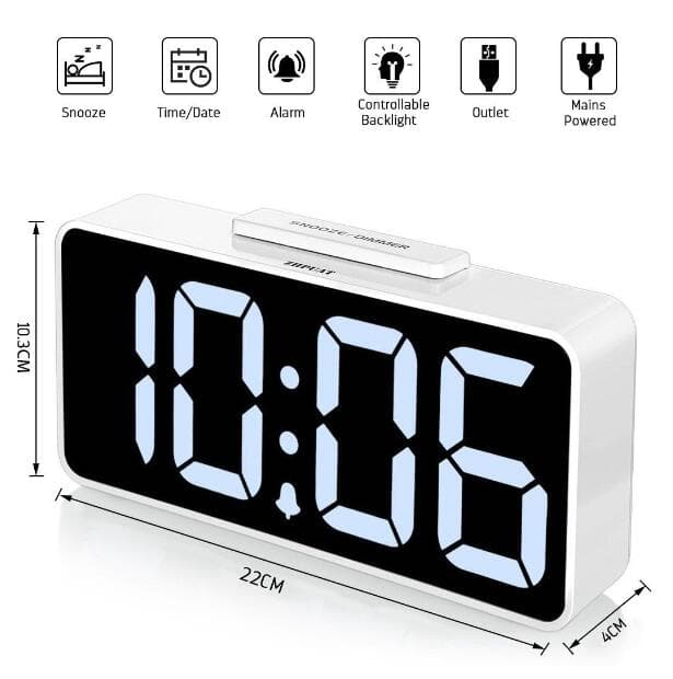 """8.9"""" Big Screen Digital Alarm Clock with Dimmer and Alarm Sound Control Function with USB Charger (White) 40% OFF @$14.99+FS"""