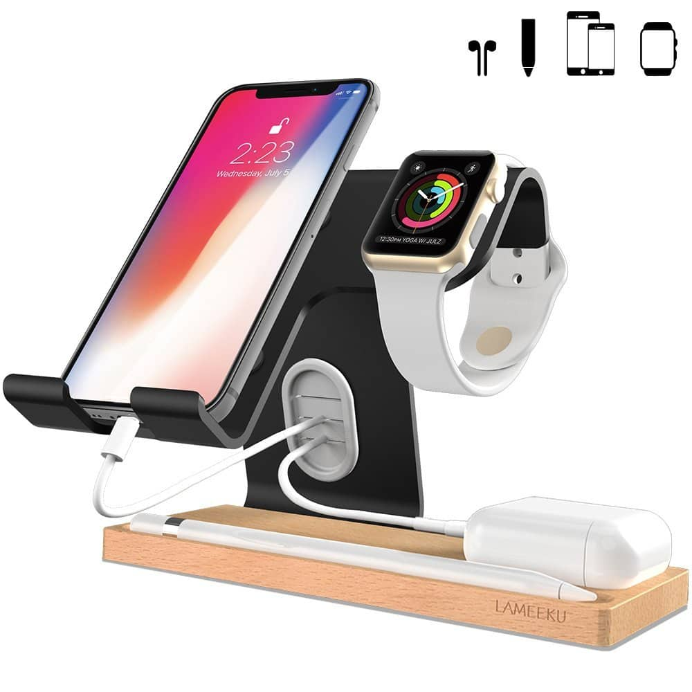 Apple Watch Stand, LAMEEKU Desktop Cell Phone Stand For all Smartphones / Apple Watch /iPad Airpods and Tablet 30% OFF @$13.99+FS