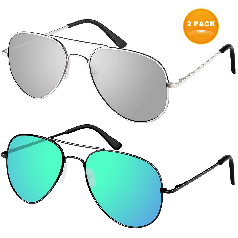 Pack of 2 Aviator Sunglasses for Women Men Polarized Metal Mirror UV400 Men Women Glasses 50% OFF @$7.99+FS
