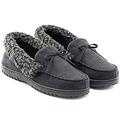 Men's Faux Fur Lined Suede House Slippers, Moccasins with Arch Support 64% OFF @$10.95