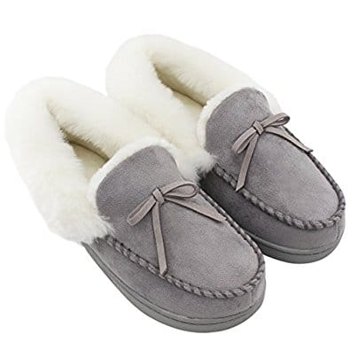 Deal of the day - Women's Faux Fur Lined Suede House Moccasins Slippers 40% OFF @$17.99